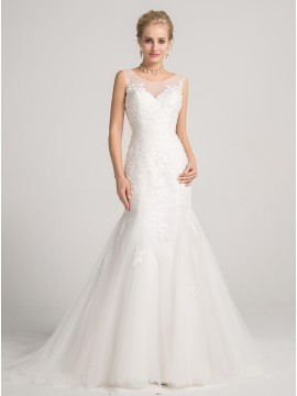 Mermaid Illusion Straps Court Train Backless Wedding Dress with Appliques Beading