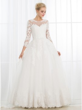 Ball Gown Scoop 3/4 Sheer Sleeves Open Back Wedding Dress with Appliques