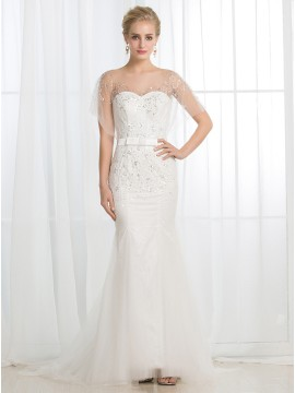 Mermaid Bateau Sweep Train Buttons Wedding Dress with Sequins Sash