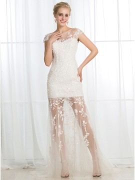 Sheath Scoop Cap Sleeves Buttons Wedding Dress with Appliques Sequins