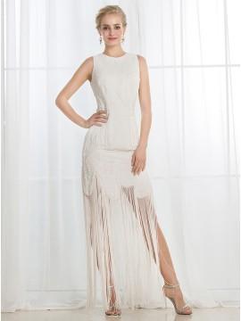 Sheath Round Neck Floor-Length Zipper-Up Wedding Dress with Beading Tassels