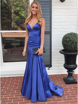 Blue A-Line Satin Prom Dress