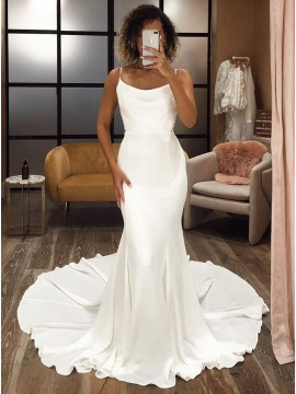 Whtie Mermaid Satin Sleeveless Wedding Dress with Sweep Train