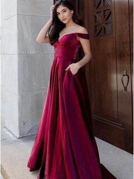 Burgundy A-Line Long Prom Dress