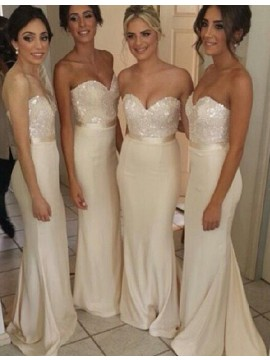 Mermaid Sweetheart Floor-Length Ivory Bridesmaid Dress with Sequins