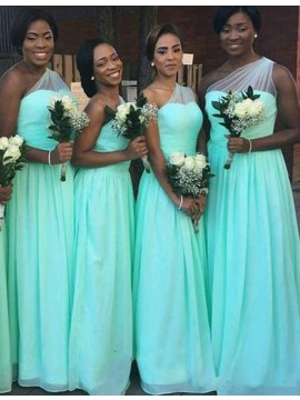 A-Line One Shoulder Sleeveless Floor-Length Mint Bridesmaid Dress with Pleats