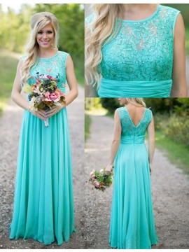 A-Line Crew Floor-Length Turquoise Bridesmaid Dress with Lace Beading