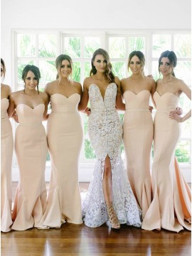 Mermaid Sweetheart Sleeveless Court Train Champagne Bridesmaid Dress