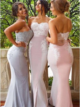 Mermaid Sweetheart Sweep Train Pink Bridesmaid Dress with Appliques Beading