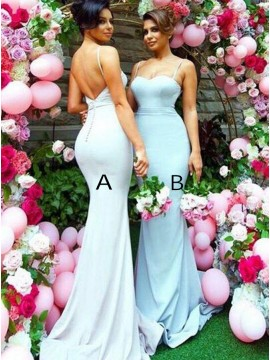 Mermaid Spaghetti Straps Sweep Train Backless Light Blue Bridesmaid Dress