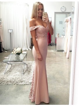 Mermaid Off the Shoulder Floor-Length Blush Bridesmaid Dress with Lace