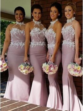 Mermaid Halter Sleeveless Blush Bridesmaid Dress with Appliques Sash