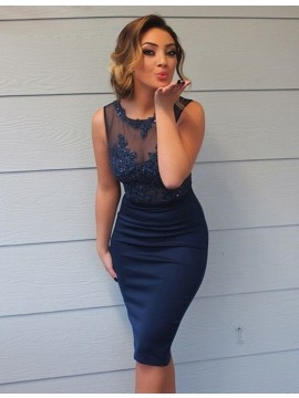 Sheath Scoop Navy Blue Bridesmaid Dress with Appliques Beading