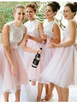 A-Line Scalloped Knee-Length Pink Bridesmaid Dress with Lace Top
