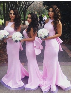 Mermaid Jewel Sleeveless Floor-Length Pink Bridesmaid Dress with Ruffles