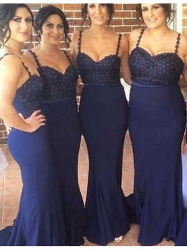 Mermaid Spaghetti Straps Sweep Train Navy Blue Bridesmaid Dress with Lace Beading