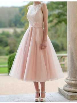 A-Line Bateau Tea-Length Flower Pearl Pink Bridesmaid Dress with Lace