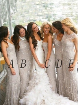 Mermaid V-Neck Sleeveless Floor-Length Silver Lace Bridesmaid Dress