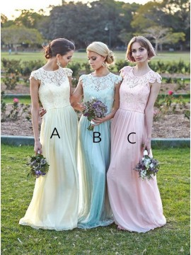 A-Line Scoop Cap Sleeves Floor-Length Bridesmaid Dress with Lace Pleats Sash