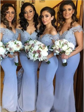 Mermaid Off the Shoulder Open Back Blue Bridesmaid Dress with Lace
