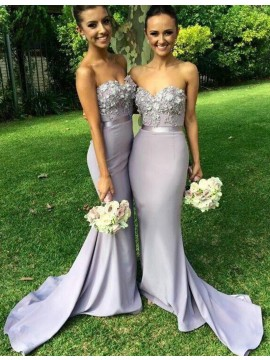 Mermaid Sweetheart Flowers Lavender Bridesmaid Dress with Appliques