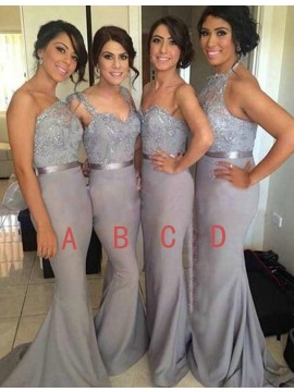 Mermaid One Shoulder Beaded Grey Bridesmaid Dress with Lace