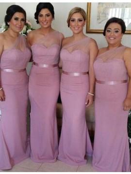 Mermaid One Shoulder Sleeveless Floor-Length Pink Bridesmaid Dress