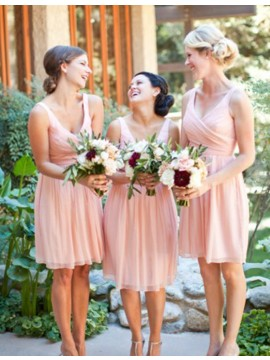 A-Line V-Neck Sleeveless Above-Knee Pink A-Line Bridesmaid Dress with Pleats