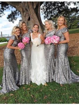Mermaid Crew Short Sleeves Sweep Train Silver Sequined Bridesmaid Dress