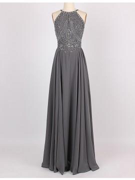 A-Line Jewel Sleeveless Floor-Length Grey Bridesmaid Dress with Beading