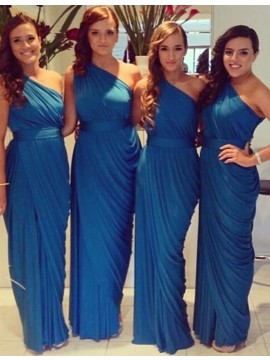 Sheath One Shoulder Sleeveless Ankle-Length Blue Bridesmaid Dress with Pleats