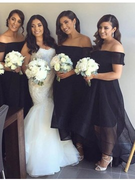 Simple Black Off the Shoulder High Low Organza A-Line Bridesmaid Dress