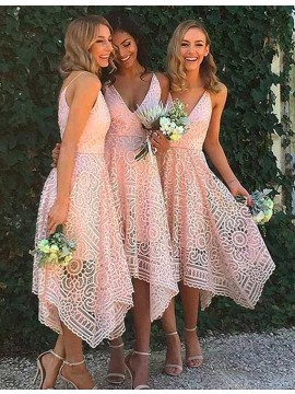 A-Line V-Neck Sleeveless Asymmetrical Pink Lace Bridesmaid Dress