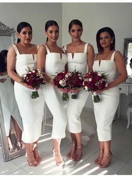 Simple White Square Sleeveless Tea Length Sheath Bridesmaid Dress