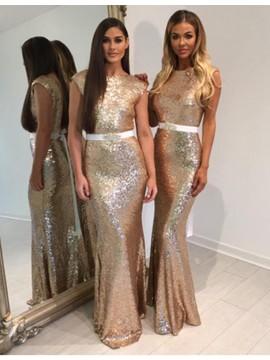 Mermaid Bateau Backless Gold Bridesmaid Dress with Sash Beading