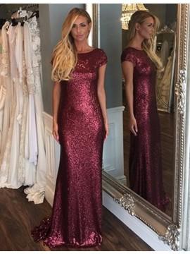 Elegant Burgundy Bateau Short Sleeves Backless Sweep Train Sequined Mermaid Bridesmaid Dress