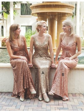 Glamorous Blush/Gold V-Neck Backless Sweep Train Sheath Bridesmaid Dress with Ruched