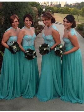 A-line Jewel Sleeveless Sweep Train Turquoise Bridesmaid Dress with Sash Lace Pleated