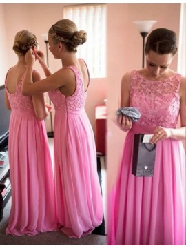 A-line Bateau Sleeveless Floor Length Pink Bridesmaid Dress with Lace