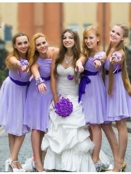 A-line One Shoulder Short Ruched Lavender Bridesmaid Dress with Sash