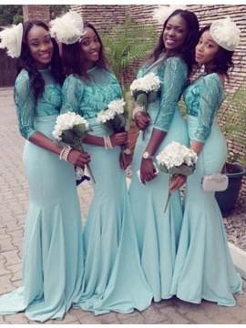 Mermaid Bateau 3/4 Sleeves Sweep Train Mint Bridesmaid Dress with Lace Beading
