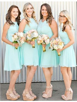 A-line Jewel Sleeveless Short Mint Bridesmaid Dress with Pleats