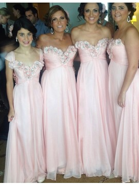 A-line Sweetheart Floor Length Pink Bridesmaid Dress with Appliques Beading