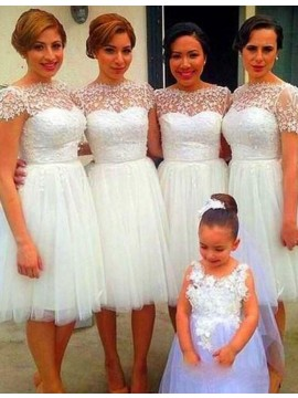 A-line Bateau Short Sleeves White Short Bridesmaid Dress with Lace