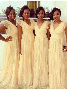A-line V Neck Floor Length Pleated Cap Sleeves Daffodil Bridesmaid Dress