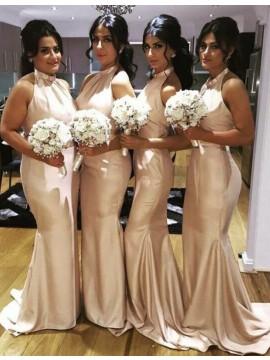 Mermaid/Trumpet Halter Sweep Train Champagne Bridesmaid Dress