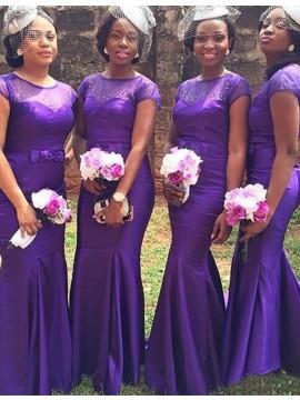 Mermaid Jewel Cap Sleeves Purple Bridesmaid Dress with Beading Bownot