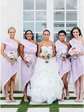 A-line One Shoulder High Low Pleated Lilac Bridesmaid Dress