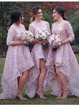 A-line Jewel 3/4 Sleeves Pink High Low Organza Bridesmaid Dress with Appliques