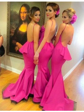Mermaid V Neck Backless Fuchsia Bridesmaid Dress with Ruffles